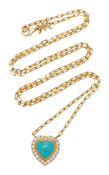 Khai Khai 18K Gold Turquoise And Diamond Necklace in blue