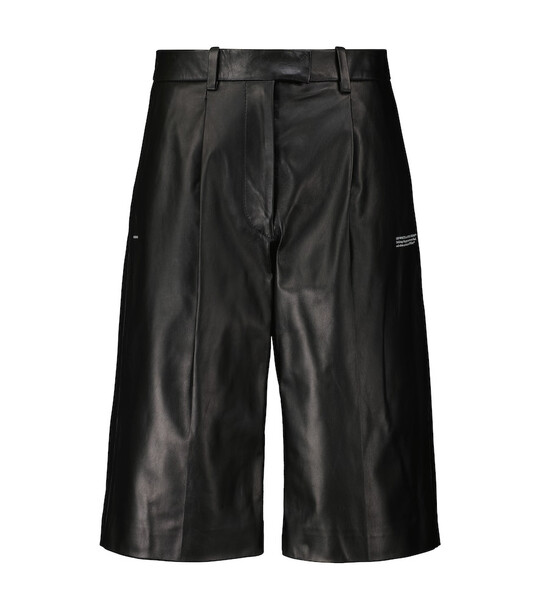 Off-White High-rise leather Bermuda shorts in black