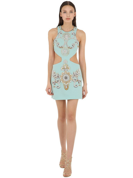 FAUSTO PUGLISI Embellished Wool Crepe Dress W/ Cut Outs in white