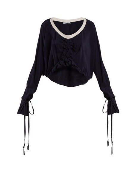 Jw Anderson - Florette Embellished Tie Cuff Silk Top - Womens - Navy