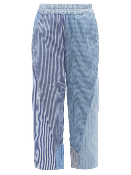 By Walid - Reyzi Patchwork Cotton Poplin Cropped Trousers - Womens - Blue Multi