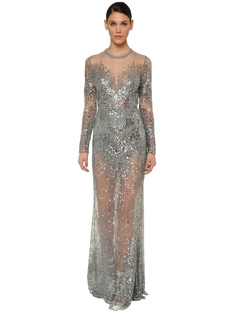 ELIE SAAB Long Sleeve Embellished Tulle Dress in silver