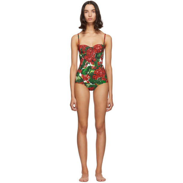 Dolce and Gabbana Red and Green Portofino Balconette One-Piece Swimsuit