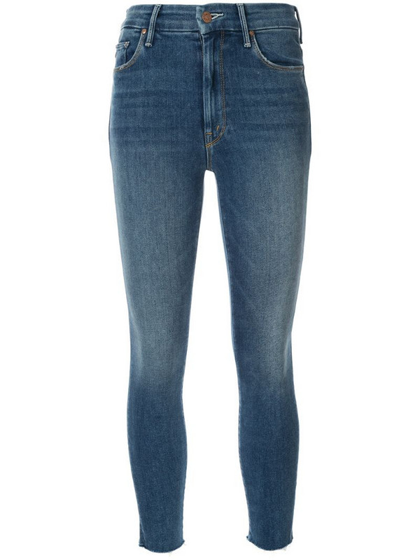 Mother cropped skinny jeans in blue