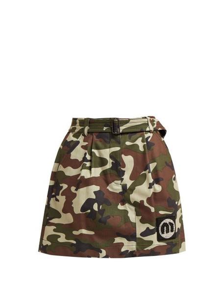 skirt mini skirt mini camouflage cotton print green