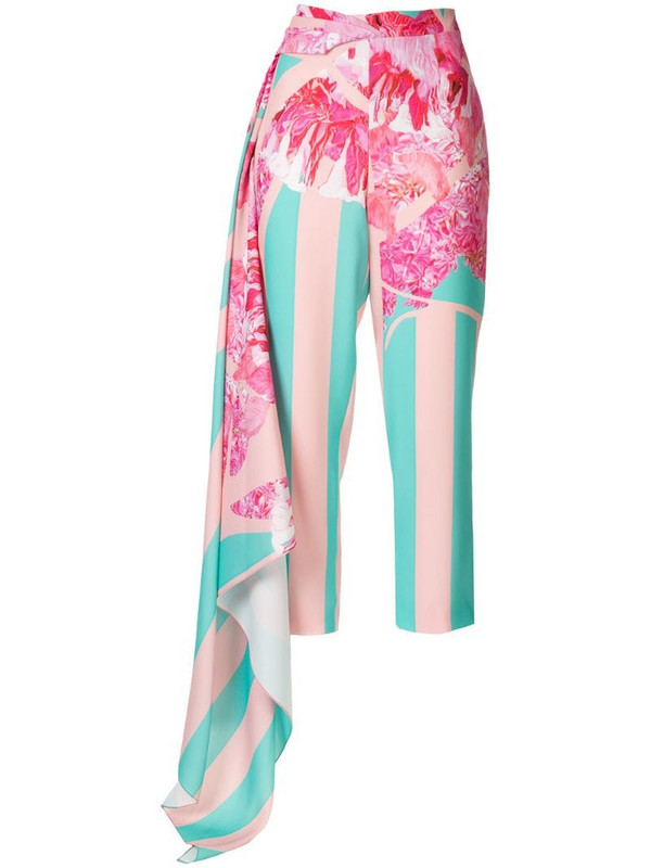 Halpern cropped printed trousers in pink