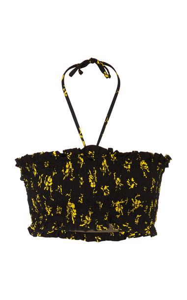 Ganni Recycled Fabric Swimwear Bikini Top Size: 34 in black