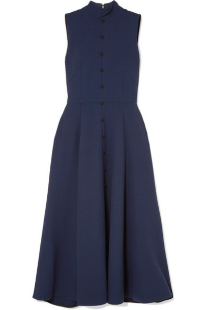 Emilia Wickstead - Pleated Wool-crepe Dress - Navy