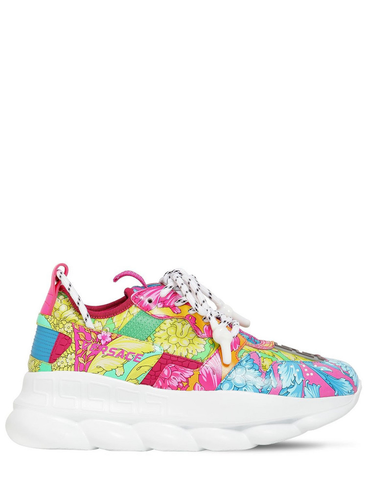 VERSACE Chain Reaction 2 Printed Mesh Sneakers in blue / pink