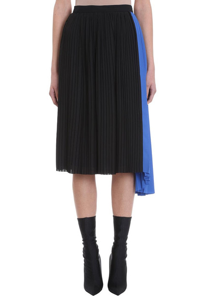 Kenzo Pleated Asymmetric Skirt in black