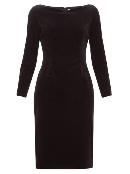 Goat - Intrigue Boat Neck Velvet Dress - Womens - Black