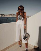 pants,wide-leg pants,white pants,high waisted pants,tank top,black and white,slide shoes,chanel,transparent  bag