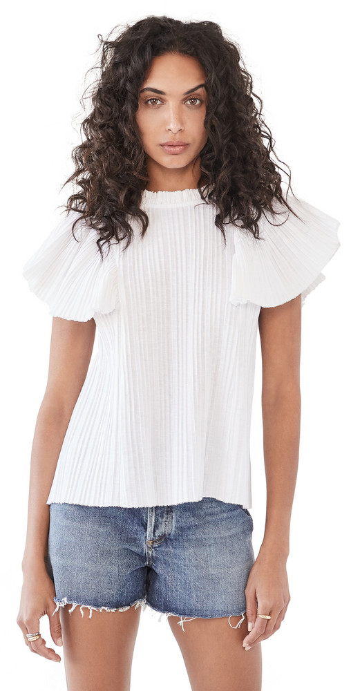 Sea Bailey Broomstick Sleeveless Blouse in white