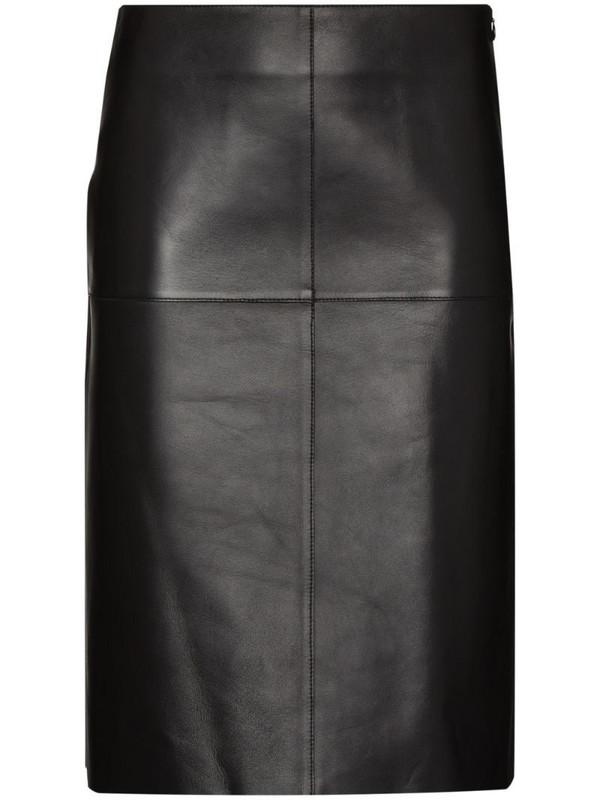 Totême lambskin A-line midi skirt in black