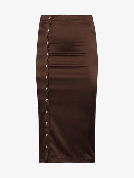 Supriya Lele Gape silk blend midi skirt in brown
