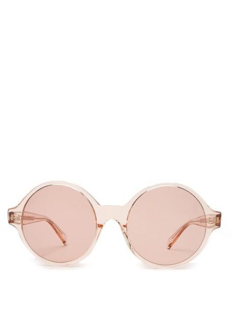 Celine Eyewear - Oversized Round Frame Acetate Sunglasses - Womens - Light Pink