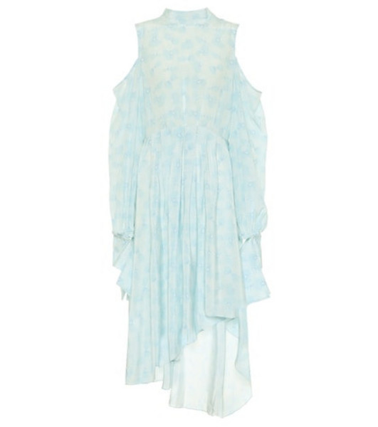 Rokh Printed silk crêpe de chine dress in blue