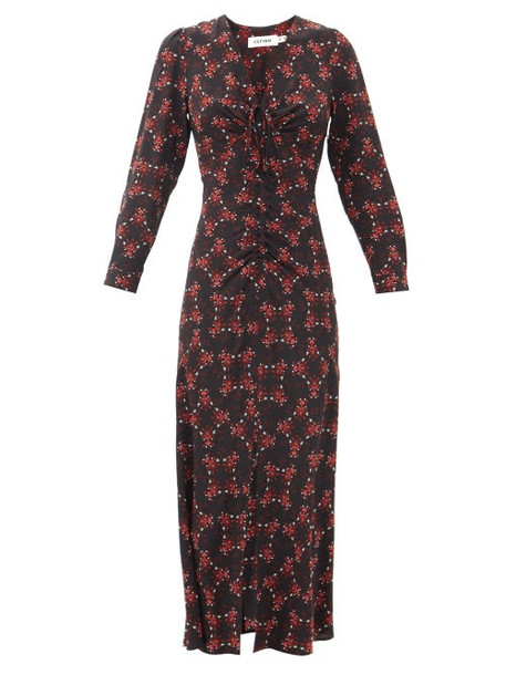 Cefinn - Ophelia Floral-print Silk-twill Midi Dress - Womens - Black Red