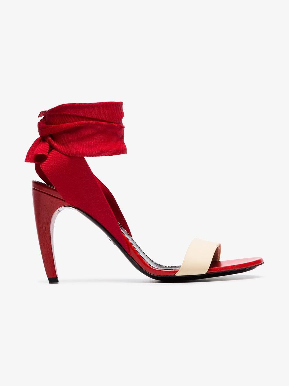 Proenza Schouler Ankle Tie Curved Heel Sandals in red