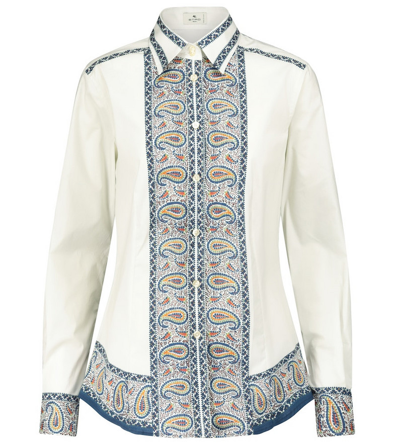 Etro Printed stretch-cotton shirt in blue