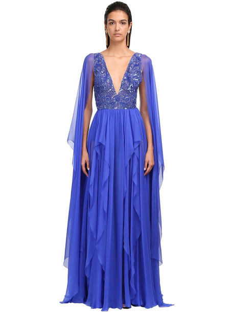 ZUHAIR MURAD Embellished Silk Chiffon Gown in blue
