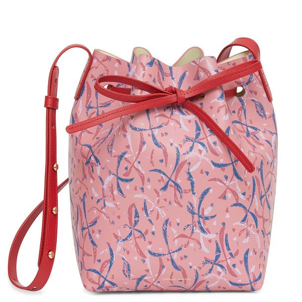 Mansur Gavriel Calf Mini Bucket Bag with Marc Camille Chaimowicz Print - Peony/Cleo