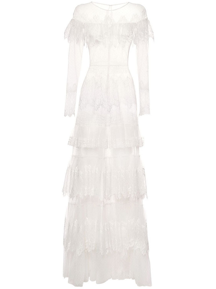 ZUHAIR MURAD Tiered Sheer Lace Long Dress in white