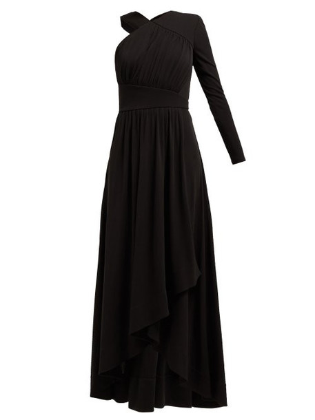 Givenchy - Asymmetric Ruched Crepe Jersey Gown - Womens - Black