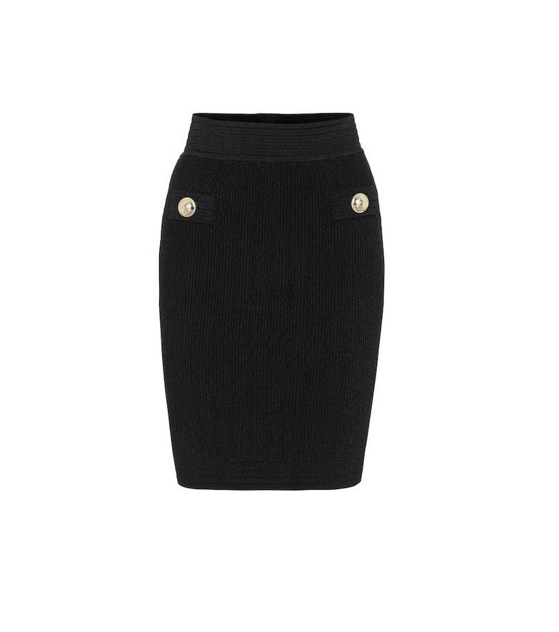 Balmain High-rise ribbed-knit miniskirt in black