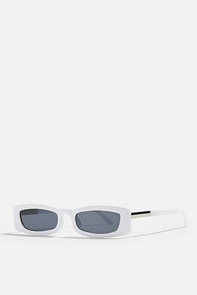 Topshop Nostalgia Rectangle Sunglasses - White