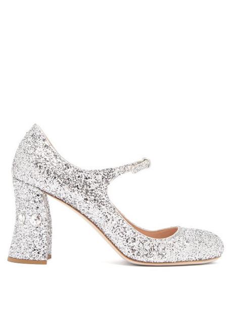 Miu Miu - Glitter Crystal Embellished Pumps - Womens - Silver