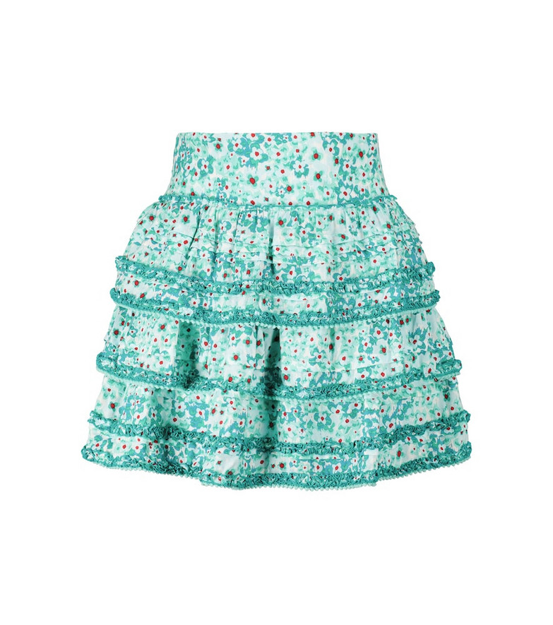 Poupette St Barth Exclusive to Mytheresa – Bibi floral high-rise miniskirt in green