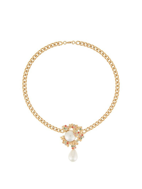 Ingie Paris leaf drop chain necklace in gold