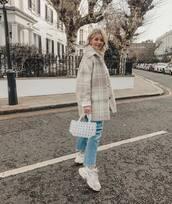 coat,oversized coat,wool coat,plaid,white sneakers,cropped jeans,straight jeans,white bag,handbag,white turtleneck top