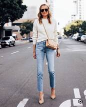jeans,high waisted jeans,straight jeans,pumps,white sweater,crossbody bag