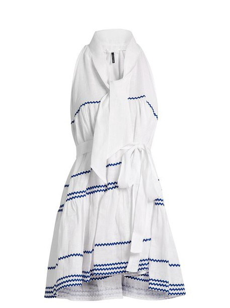 Lisa Marie Fernandez - Rickrack Trimmed Linen Mini Dress - Womens - White Multi