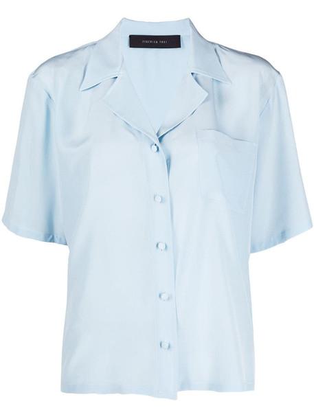 Federica Tosi chest pocket silk shirt in blue