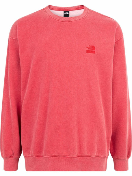 Supreme x The North Face logo embroidered sweatshirt in red