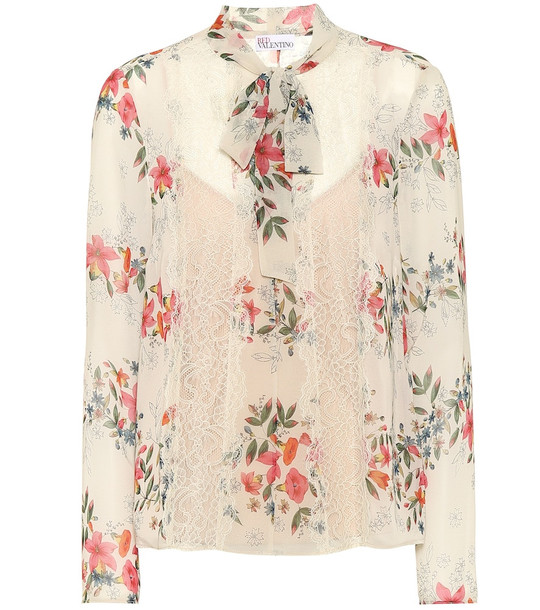 REDValentino Floral lace-trimmed blouse in beige