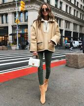 coat,hooded jacket,chloe,heel boots,skinny jeans,white bag,chanel bag,handbag