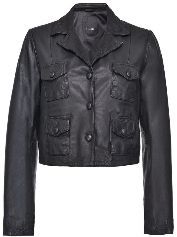 Pinko pocket-detail leather jacket in black
