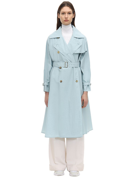 MAX MARA Textured Cotton Blend Trench Coat in blue