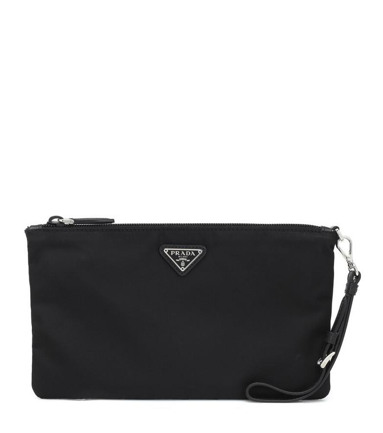 Prada Logo nylon pouch in black