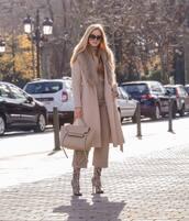 pants,wide-leg pants,snake print,knee high boots,mango,beige coat,zara,turtleneck sweater,bag