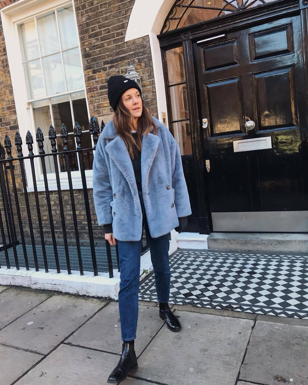 coat faux fur coat double breasted blue coat black boots ankle boots free people jeans black sweater black beanie