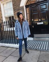 coat,faux fur coat,double breasted,blue coat,black boots,ankle boots,free people,jeans,black sweater,black beanie