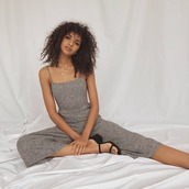 jumpsuit,grey jumpsuit