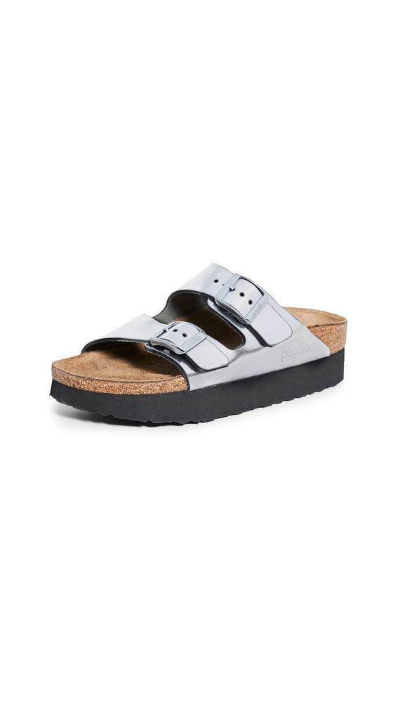 Birkenstock Arizona Platform Sandals - Narrow in metallic / silver