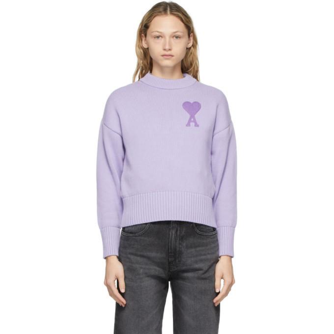 AMI Alexandre Mattiussi Purple Oversize Ami De Coeur Sweater in lilac