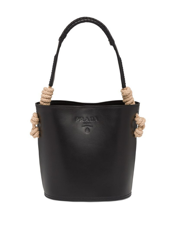 Prada leather bucket bag in black